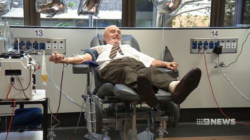 Due to his blood type being so useful, the 81-year-old has been back to his nearest Red Cross blood bank every fortnight for 61 years. Picture: 9NEWS.