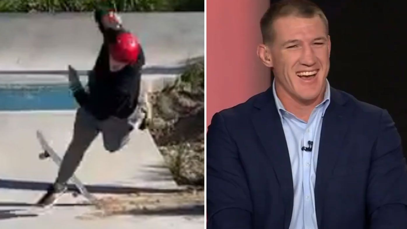 Paul Gallen had a small hiccup at the skatepark.