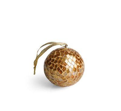 """<a href=""""https://shop.oxfam.org.au/gold-mosaic-ball"""" target=""""_blank"""">Oxfam Gold Mosaic Ball, $14.95.</a>"""