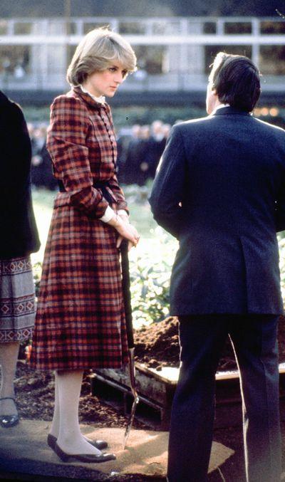 Princess Diana wearing a tartan dress circa 1981.