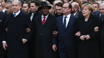 President Francois Hollande linked arms with world leaders, including the Israeli prime minister and the Palestinian president, in an historic display of unity. (Getty Images)