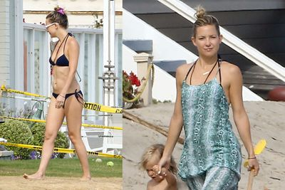 Kate Hudson takes her son Bingham to a beach in Malibu.<br/><br/>(Images: Splash)