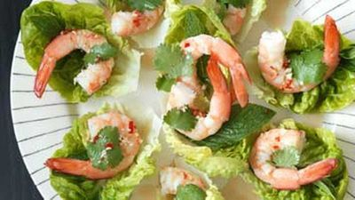"""<a href=""""http://kitchen.nine.com.au/2016/05/17/13/20/prawns-on-lettuce-herbs-with-dipping-sauce"""" target=""""_top"""">Prawns on lettuce & herbs with dipping sauce</a> recipe"""