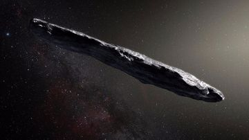 An illustration of the interstellar asteroid 'Oumuamua observed in our Solar System. (Supplied)
