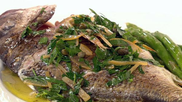 Dinner for one - roasted whole bream with lemon dressing