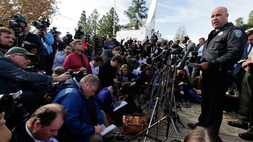 San Bernardino Police Chief Jarrod Burguan at a press conference near the Inland Regional Centre. (AAP)