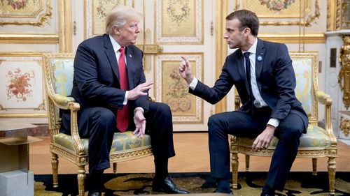 US President Donald Trump and French President Emmanuel Macron meet in France.