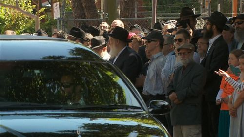 Thalia's funeral procession stopped at her school. (9NEWS)