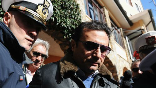 Former captain of the Costa Concordia Francesco Schettino before going aboard the ship with the team of experts inspecting the wreck on February 27 this year. (Getty Images)