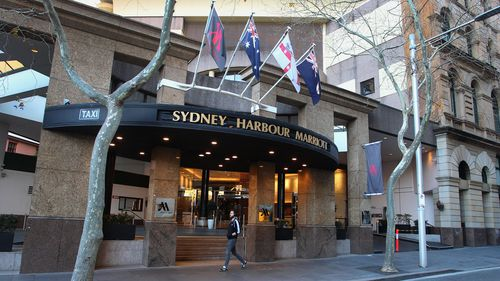 The Sydney Harbour Marriott Hotel entrance is seen closed to the public at Circular Quay on August 19, 2020 in Sydney, Australia.