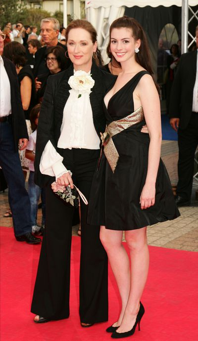 Meryl Streep with Anne Hathaway at the premiere of <em>Devil Wears Prada</em> during the 32nd American Film Festival of Deauville in 2006.