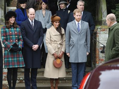 Prince Philip with the Duke and Duchess of Sussex on Christmas Day in 2017.