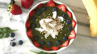 "Recipe: <a href=""http://kitchen.nine.com.au/2017/08/09/09/49/super-smoothie-bowl"" target=""_top"">Super smoothie bowl</a>"