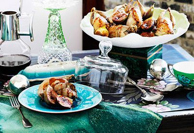 Roast quail with fig stuffing