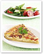 Brie, bacon and capsicum tart
