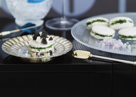 Caviar with herb sandwiches