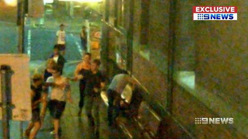 The punch and subsequent scuffle was captured on CCTV.
