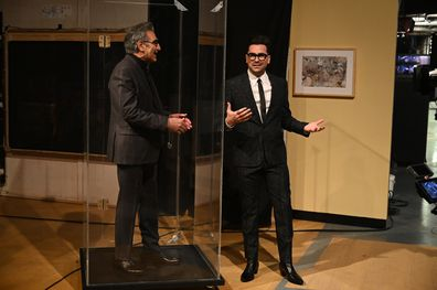 Schitt's Creek star Eugene Levy joins son and co-star Daniel Levy's Saturday Night Live monologue.