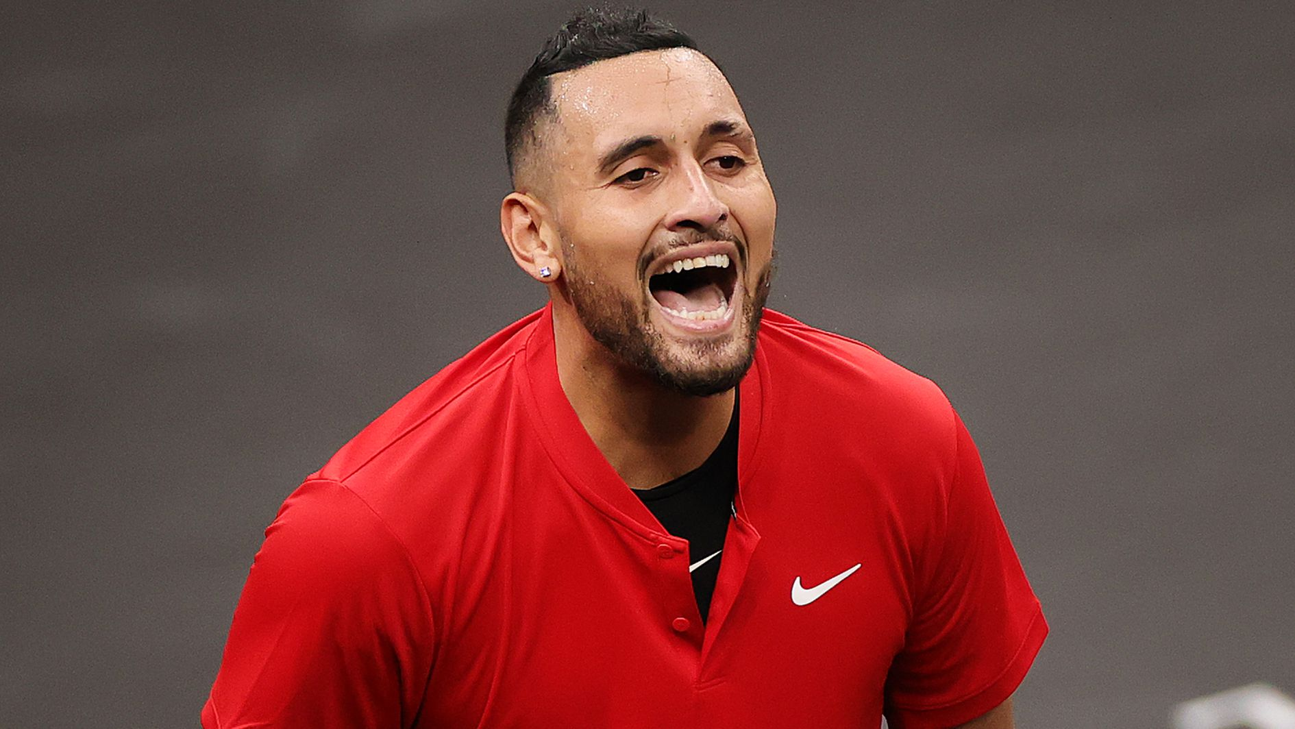 Nick Kyrgios of Team World reacts to a shot against Stefanos Tsitsipas of Team Europe during the fifth match during Day 2 of the 2021 Laver Cup at TD Garden.