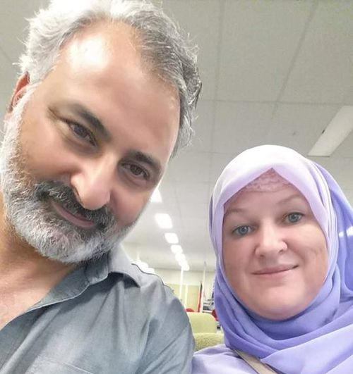 Hazem Hamouda with his wife before he was jailed in Egypt.