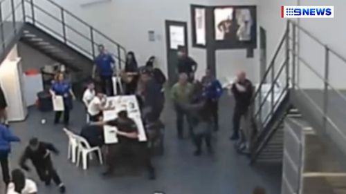 The CCTV was captured inside Barwon Prison on February 13.