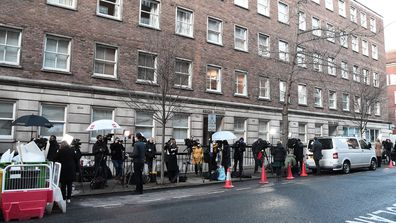 The media gather outside of The King Edward VII hospital where Prince Philip, Duke of Edinburgh is currently receiving treatment on February 18, 2021 in London, England