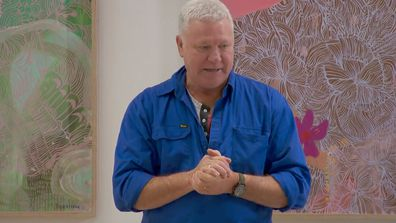 Host Scott Cam addresses the group after Kirsty's Nan passes away on The Block 2021