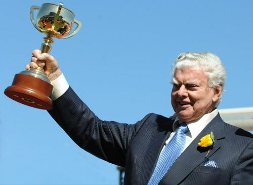 Cummings lifts the Melbourne Cup in 2008.