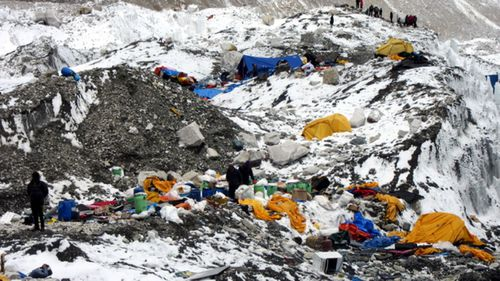 Some of the waste left behind on Everest after the climbing season.