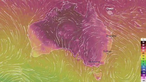 Australia heatwave weather map