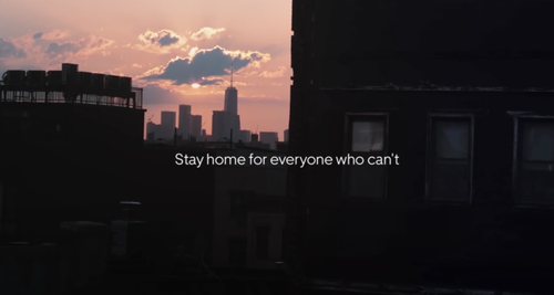 The unique ad urges everyone to stay at home.