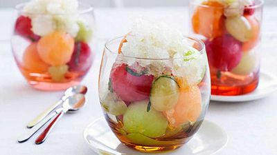 "Recipe:&nbsp;<a href=""https://kitchen.nine.com.au/2016/05/16/18/31/champagne-granita-and-melon"" target=""_top"" draggable=""false"">Champagne granita and melon</a>"
