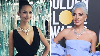 Ricki-Lee and Lady Gaga wearing similar Tiffany & Co necklaces