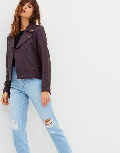 """<a href=""""https://www.theiconic.com.au/carrie-leather-jacket-591112.html"""" target=""""_blank"""" draggable=""""false"""">Elka Collective Carrie Leather Jacket in Plum, $599</a>"""