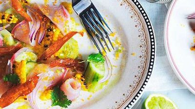 "Recipe:&nbsp;<a href=""http://kitchen.nine.com.au/2016/05/16/13/34/kingfish-ceviche"" target=""_top"">Kingfish ceviche</a>"