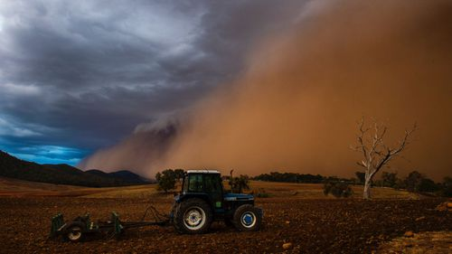 Spectacular dust storms pushed ahead of thunderstorms impacted much of western NSW on Sunday. This image was taken west of Orange.