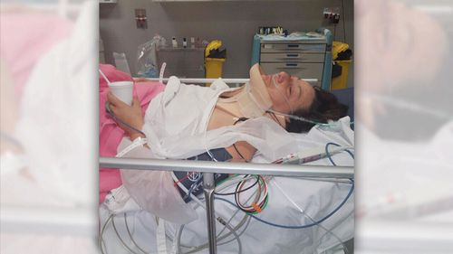 Bec was taken to hospital with a broken leg and elbow and bleeding on the brain.