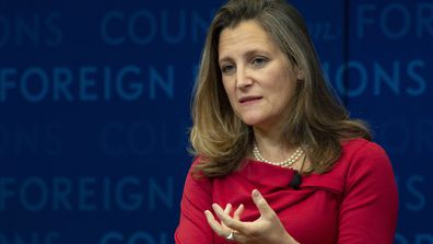 In this Tuesday, Sept. 25, 2018 photo, Canadian Foreign Affairs Minister Chrystia Freeland participates in a discussion at the Council on Foreign Relations in New York