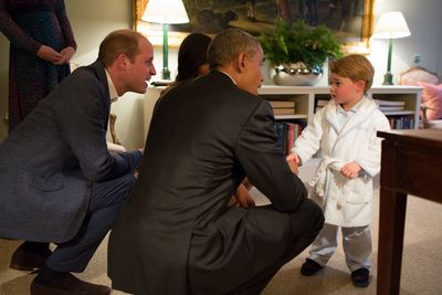 Prince George with President Barack Obama