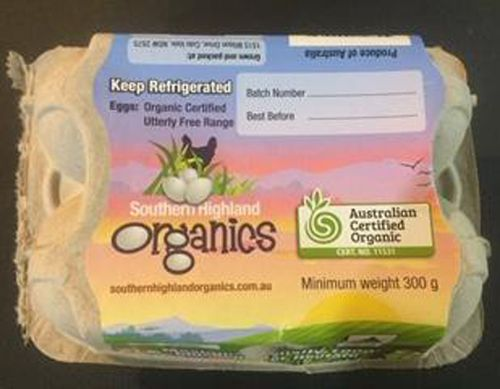 The recall applies to Southern Highland Organic Eggs in six and 12 packs.