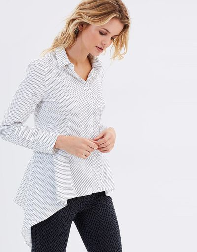"<a href=""http://www.theiconic.com.au/strutt-shirt-453459.html"" target=""_blank"" draggable=""false"">Privilege Strutt Shirt, $85, from The Iconic.</a><br /> Saddle bags? What saddle bags. Peplum detail on the hips makes for a beautiful, feminine shape."