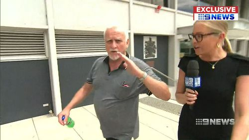 The man lashed out at a 9NEWS camera crew. (9NEWS)