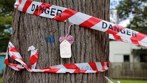 """A note with the words """"Fly High Little Mia"""" with a knitted heart has been placed at a Brisbane park where a swooping magpie led to the death of a baby girl."""