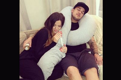 'I don't know who I miss more.... @robkardashian or this pillow :P.'
