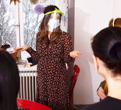 Princess Sofia visits a hospital in protective gear, January 2021