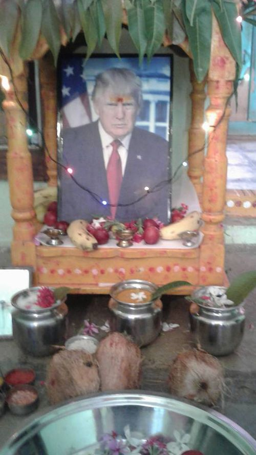 Krishna has created a shrine to the president, which he prays to several times a day. Picture: Facebook