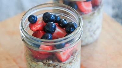 "Recipe: <a href=""https://kitchen.nine.com.au/2017/11/16/16/13/overnight-breakfast-grains"" target=""_top"">Overnight breakfast grains</a>"