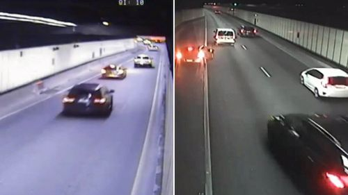 CCTV footage of the incident shows a black BMW chasing the Astra into the M5 Tunnel last year (Supplied).
