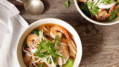 "This easy and fragrant <a href=""http://kitchen.nine.com.au/2016/05/16/11/24/asian-chicken-prawn-long-soup"" target=""_top"">Asian chicken & prawn long soup</a> can be served cooled and with crisp fresh vegetables for a refreshing change in a hot day."
