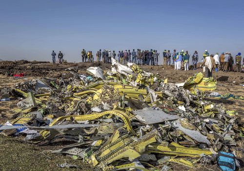 Wreckage is piled at the crash scene of an Ethiopian Airlines flight involving a Boeing 737 Max 8.